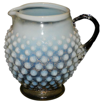 Vintage Fenton French Opalescent Hobnail Creamer or Small Pitcher
