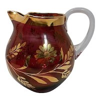 Vintage 22 kt. Gold Decorated Hand Blown Small Cranberry Flashed Pitcher