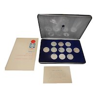 Vintage Franklin Mint XI Winter Olympics 999 Silver Proof 11 Medals Set Sapporo 1972