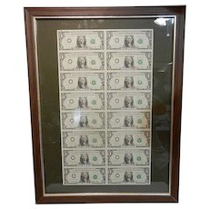 Vintage Arrow Sheet of (16) Uncut Series 1985 $1 Federal Reserve Notes