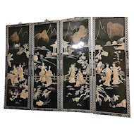 """Vintage Japanese""""Geisha Girls"""" Mother Of Pearl Black Lacquer Wall Panels"""