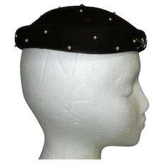 Vintage Mid-Century Brown with Beads Madcap Hat.