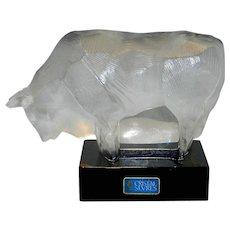 Vintage Cristal de Sevres France Glass Bull Figurine