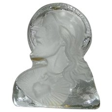 Vintage Viking Glass Frosted Portrait of Jesus Paperweight