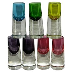 Vintage Hand Blown Colored Glass Top Shot Glasses