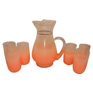 Mid Century Blendo Pink Frosted West Virginia Glass Pitcher & 7 Tumblers