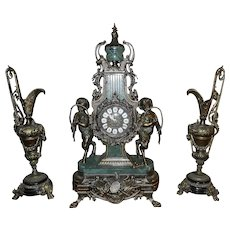 Victorian Style Franz Hermle Works Bronze and Marble Mantle Clock with Ewers