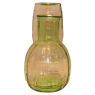 Vintage Depression Block Optic Uranium Glass Water Carafe