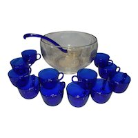 Vintage Clear Punch Bowl with Cobalt Blue Cups and Glass Ladle with Cobalt Handle