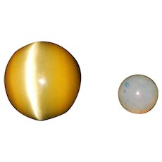 Vintage Optic Marbles Moonie Marble and Cats Eye