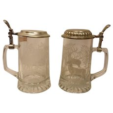 Pair of Vintage Elk Stag Etched Glass Beer Steins with Pewter Lids