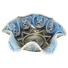 Antique c.1905-c.1910 Dugan/Diamond Opalescent, Jeweled Heart Bowl
