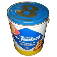 Vintage 8 Pound Family Size Mrs Tuckers Shortening Tin