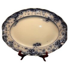 Antique Doulton Burslem Large Arnold Pattern Flow Blue Platter