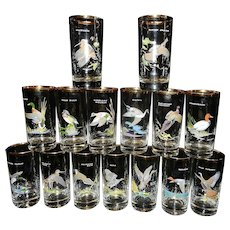 Vintage 15 Different Ned Smith Signed Game Bird High Ball Tumbler Glasses