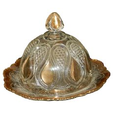 Antique EAPG New Jersey Pattern Loops and Droops Dome Covered Butter Dish by US Glass  1900 -1908