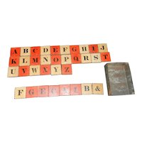 Antique Civil War Era Alphabet Block Set with Two Color Letter and Number Blocks