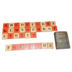 Antique Civil War Era Alphabet Block Set with Two Color Letter and Number Blocks