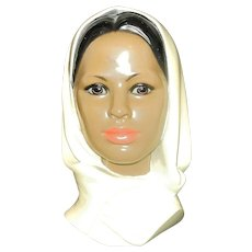Vintage Marwal Chalkware Head Bust of a Woman in Scarf
