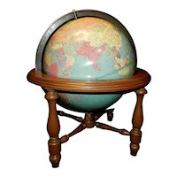 Vintage Replogle Precision 10 inch 1939-40 Desk Globe in Wood Stand
