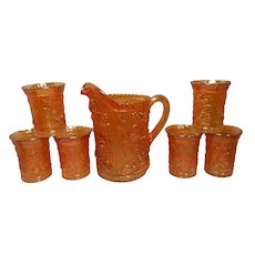 Vintage Imperial Glass Luster / Open Rose Marigold Carnival Glass Pitcher and 6 Tumblers