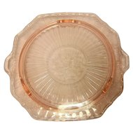 "Vintage Pink Depression Glass Mayfair Pattern 3 Footed 11 ¼"" Cake Plate"