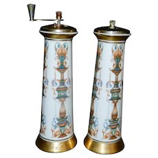 Vintage Lenox Hand Painted and Decorated Salt Shaker and Pepper Mill with 24 kt Gold Accents