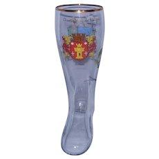 """Vintage Large 13"""" Bitburg Glass Beer Boot"""