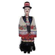 "Vintage Complete Cloth Body Hungarian 16"" Souvenir Boy Doll with Hand Embroidered Traditional Dress"