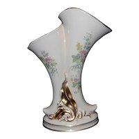 Vintage Princeton Double Cornucopia Vase P195 Cream Floral Design Gold Trimmed