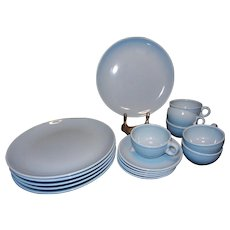 Russel Wright Iroquois Casual China Ice Blue Dinner Plates Cups and Saucers Classic Mid-Century Design