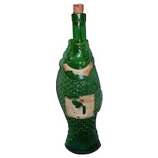 Vintage 1970s Antinori Italian Green Glass Fish Shaped Wine Bottle