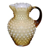 Vintage Mid-Century Fenton Honey Cased Art Glass Hobnail Pitcher