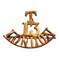 WWI The T.13.London Shoulder Title Badge