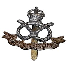 Original WWII South Staffordshire Regiment Cap Badge
