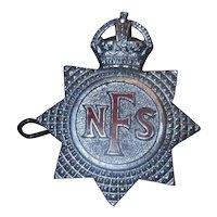 Original National Fire Service Kings Brigade Cap Badge