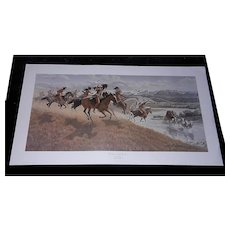 "Vintage Limited Edition Lithograph of ""The Warriors of the Big Horn"" by Joe Grandee Signed and Numbered"