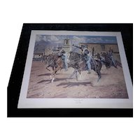 """Vintage Limited Edition Lithograph of """"Onward to Mexico"""" by Joe Grandee Signed and Numbered"""