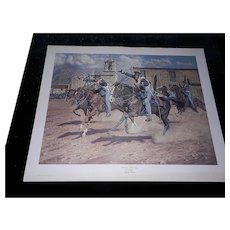 "Vintage Limited Edition Lithograph of ""Onward to Mexico"" by Joe Grandee Signed and Numbered"