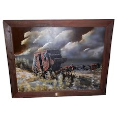 Vintage Original Oil on Canvas Behind Schedule by Cecil R. Young Jr.