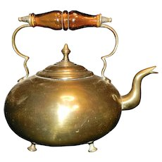 Vintage Brass Footed Teapot with Glass Handle