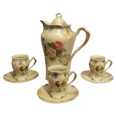 Vintage Bavarian Chocolate Pot with Cups and Saucers