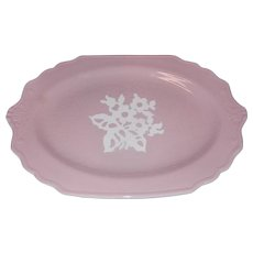 "Vintage 1940's Harker Cameoware China 11 ¾"" Pink Platter Made in the USA"