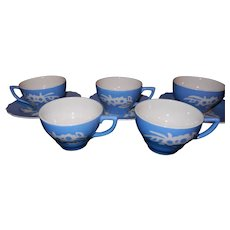 Vintage 1940's Harker Blue Cameoware China 4 Tea / Coffee Cups