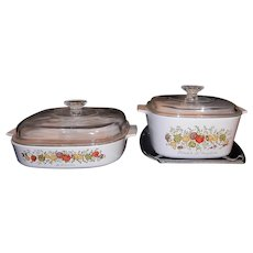 "Vintage Corning Ware Spice of Life 10 inch and 8 ¼"" Covered Casseroles with Cradle"