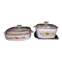 Vintage Corning Ware Spice of Life Covered Casseroles with Cradle
