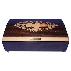 Vintage Italian Inlaid Wood Music Box plays Anniversary Song