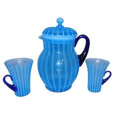 FENTON Blue Opalescent Stripe / Rib Optic lemonade Set - Pitcher and Glasses