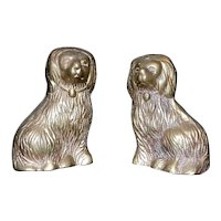 Vintage Brass Miniature Staffordshire Style Dogs