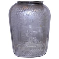 Vintage 1 Pound Embossed Glass Coffee Jar- Dean's High Grade Coffee